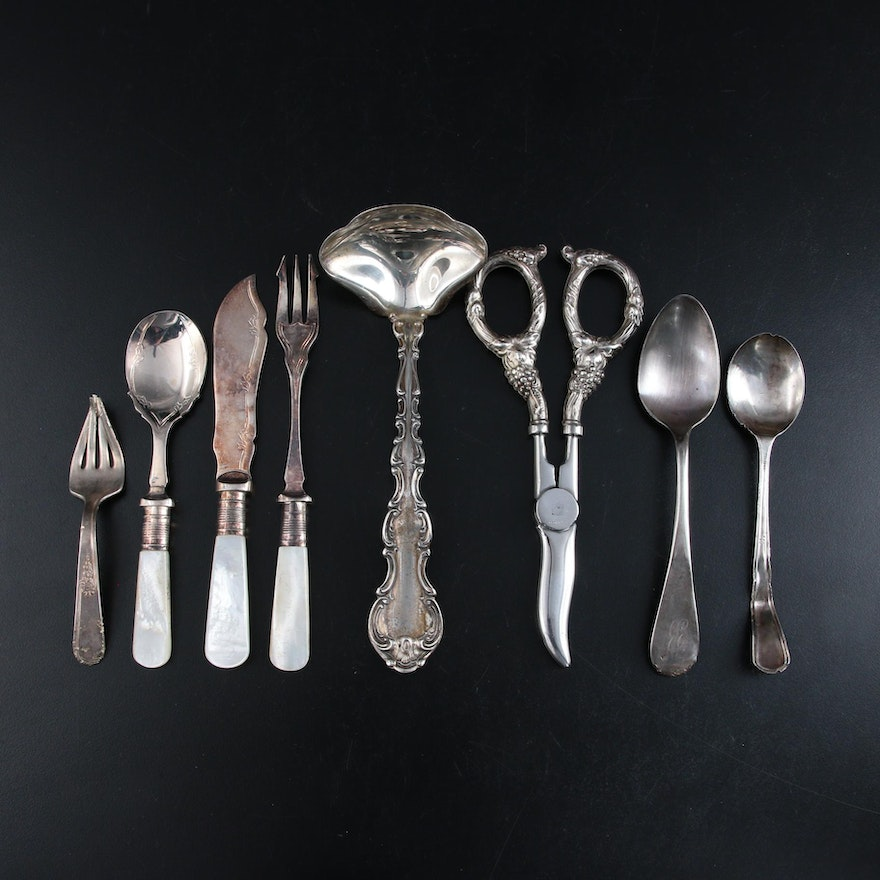 Gorham Sterling Silver Ladle and Other Sterling and Silver Plate Utensils