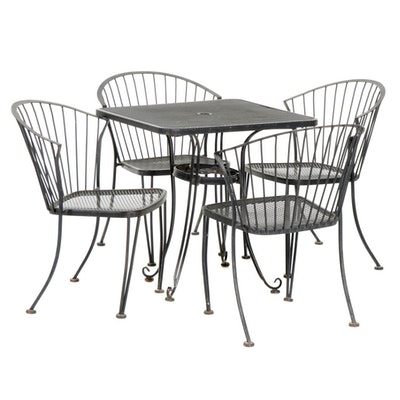 "Russell Woodard ""Pinecrest"" Mid Century Modern Iron Patio Dining Set"