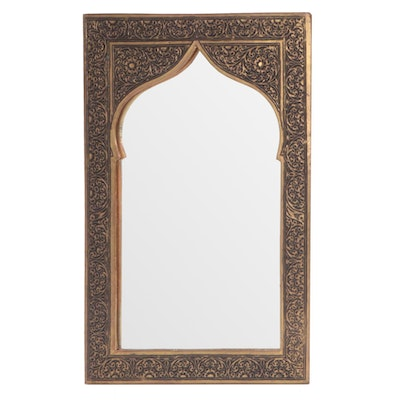 Persian Brass Repoussè Framed Wall Mirror, Mid to Late 20th Century