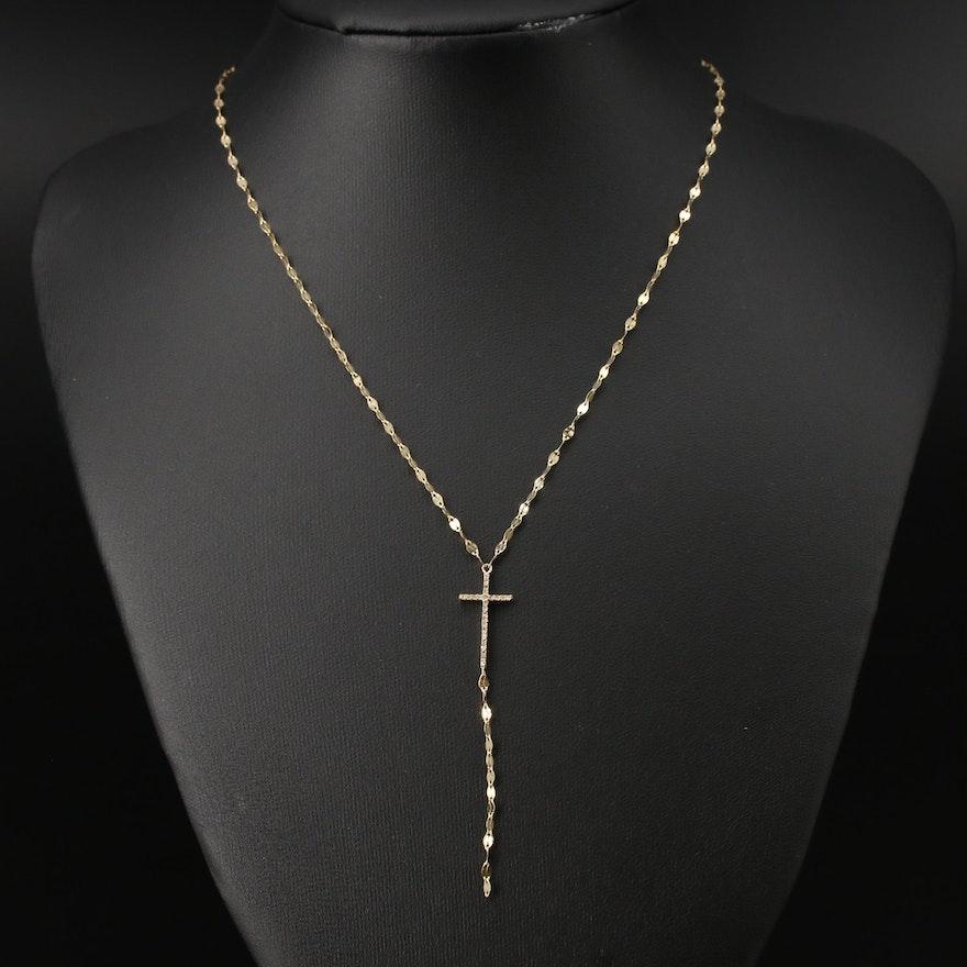 10K Diamond Cross Y Necklace