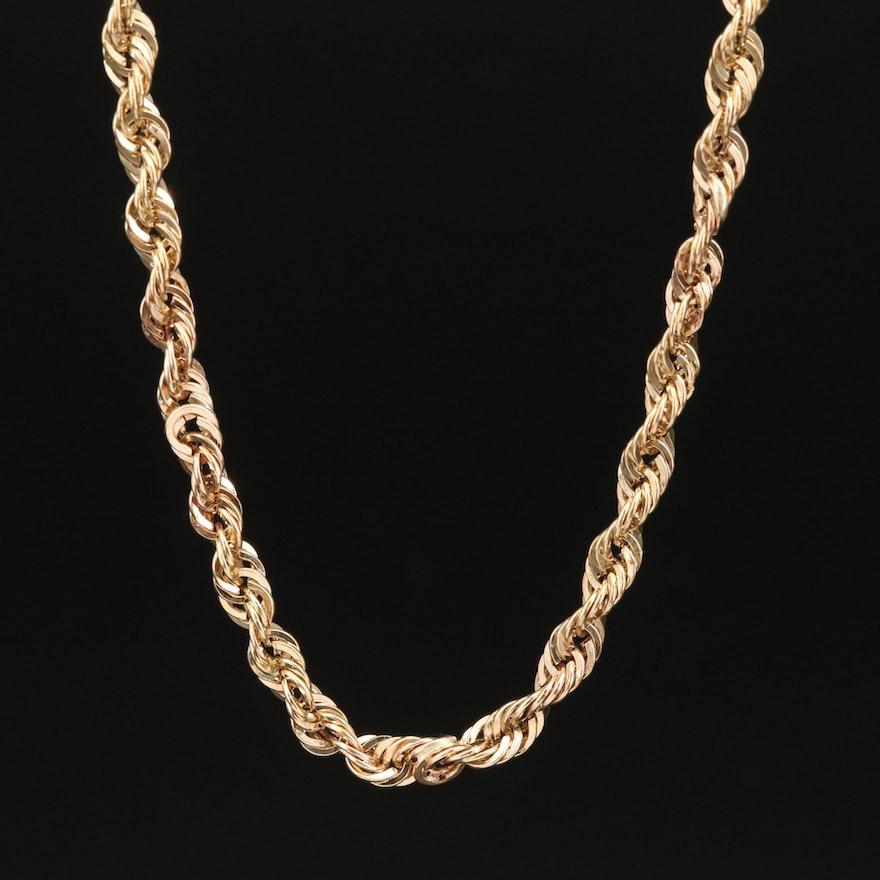 10K Diamond Cut Rope Chain Necklace