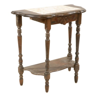 Carved Wood Hall Accent Table