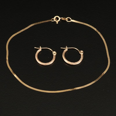 14K Herringbone Chain Bracelet with 14K Huggie Earrings