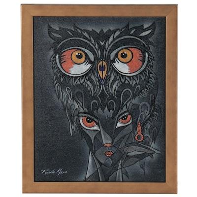 Ricardo Maya Acrylic Painting of Abstract Portrait with Owl, 21st Century