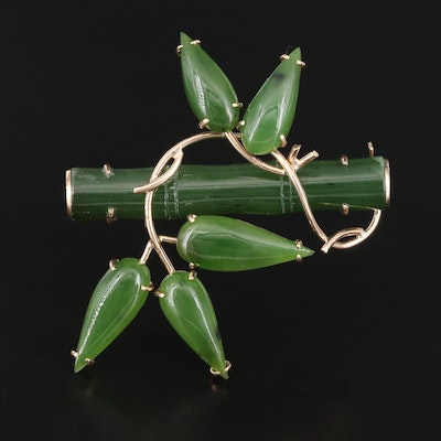 14K Nephrite Bamboo and Foliate Brooch