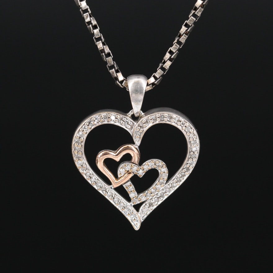 Sterling Diamond Heart Pendant Necklace with 14K Rose Gold Accent