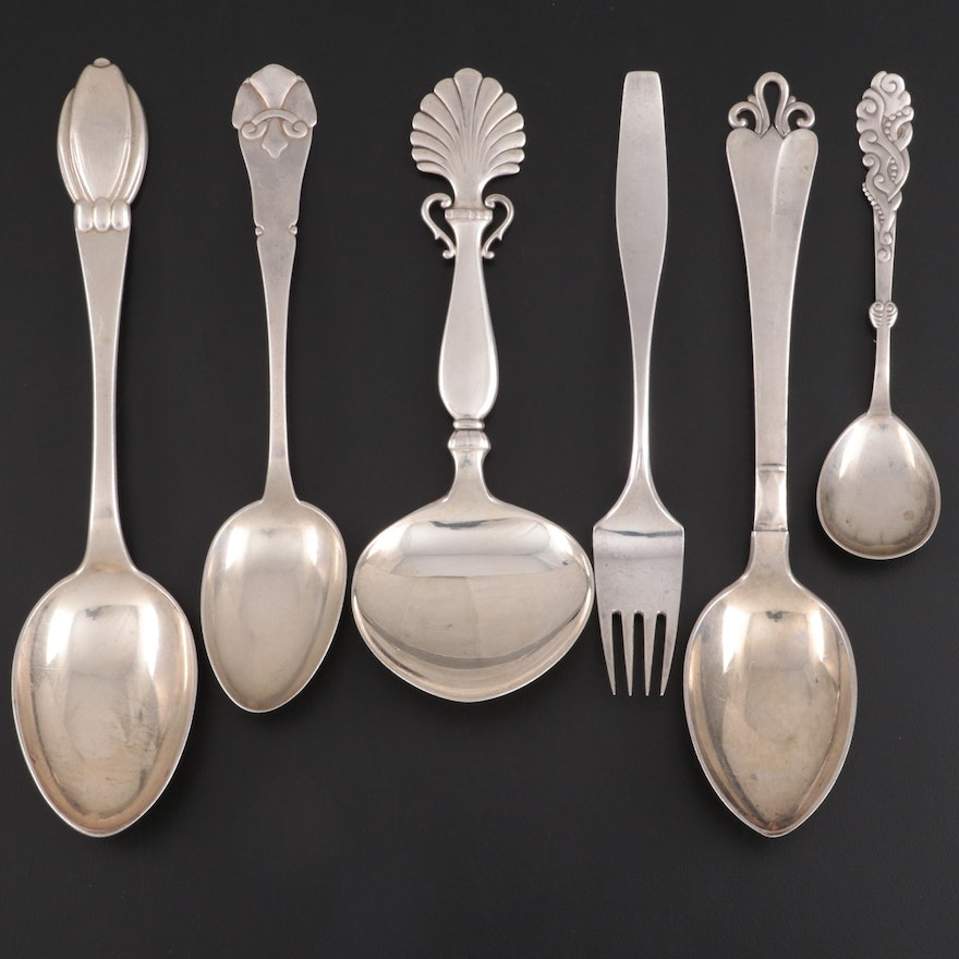 Danish Sterling and 850 Silver Flatware and Serving Utensils, Early 20th C.