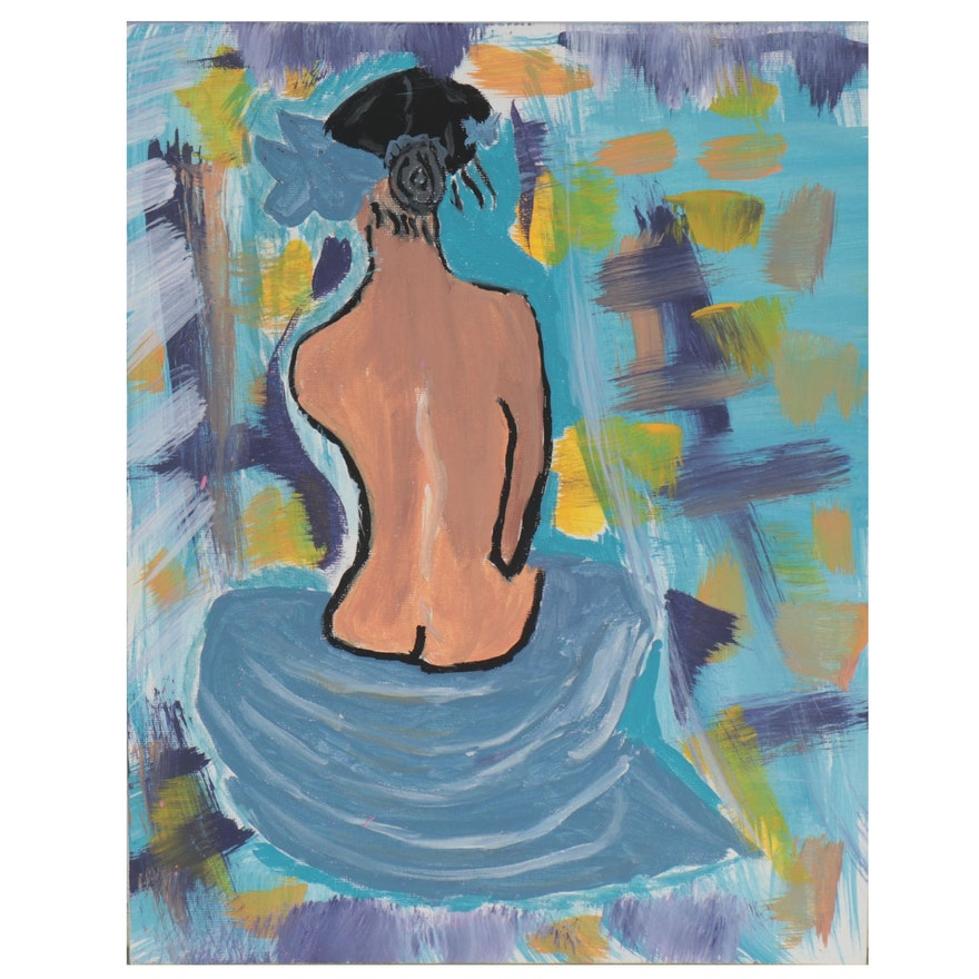 Abstract Oil Painting of Seated Nude, 21st Century