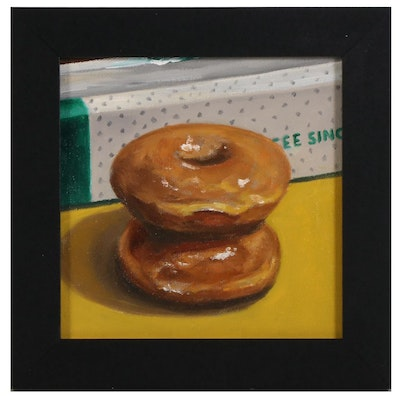 Tom Jordan Still Life Oil Painting of Krispy Kreme Doughnuts, 21st Century