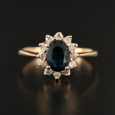 14K 1.07 CT Sapphire and Diamond Halo Ring