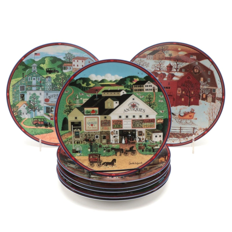 "Charles Wysocki's ""Peppercricket Grove"" for Bradford Exchange Porcelain Plates"