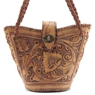 Tooled Leather Shoulder Bag with Braided Strap