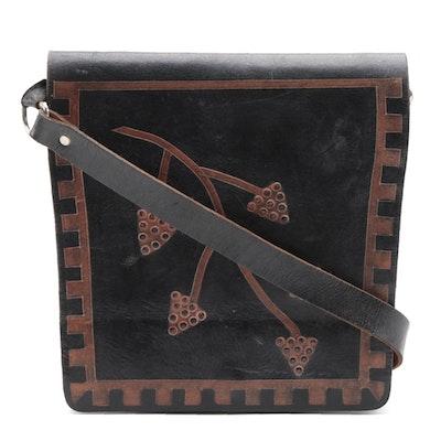 Brazilian Handmade Black Leather Flap Front Shoulder Bag