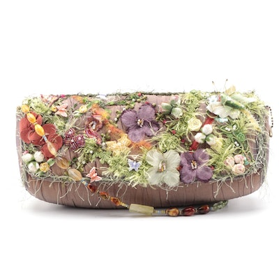 Mary Frances Floral and Butterfly Embellished Shoulder Bag with Beaded Strap