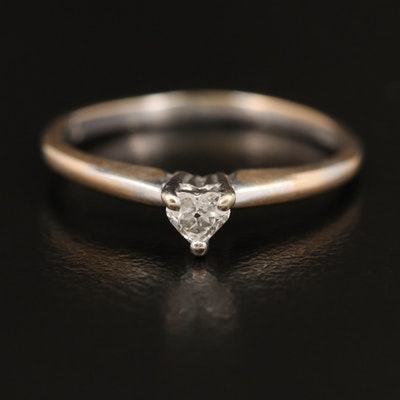 14K 0.09 CT Heart Shaped Diamond Solitaire Ring