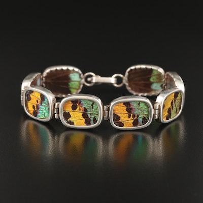 Sterling Butterfly Wing Panel Bracelet