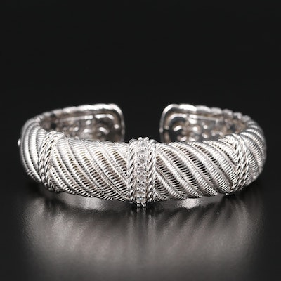 Judith Ripka Sterling Twisted Cuff with Cubic Zirconia Accent
