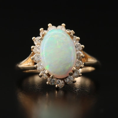 14K Opal and Diamond Halo Ring