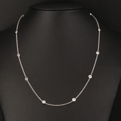 14K 1.10 CTW Diamond Station Necklace