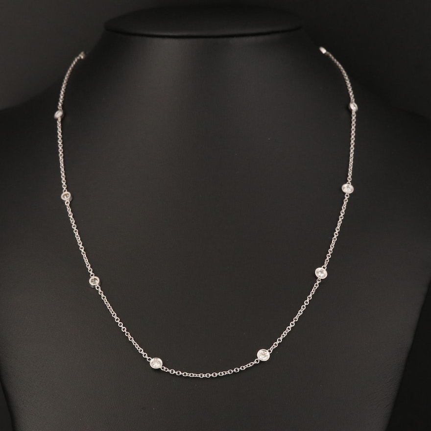 14K 1.10 CTW Diamond Station Necklace