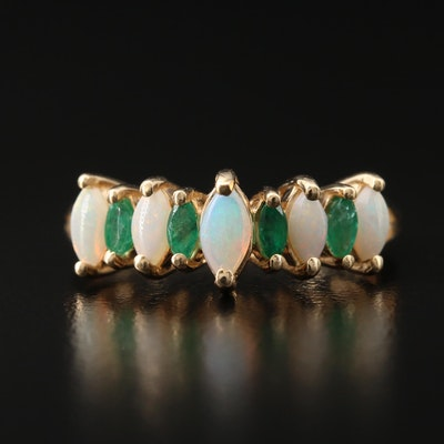 14K Opal and Emerald Ring