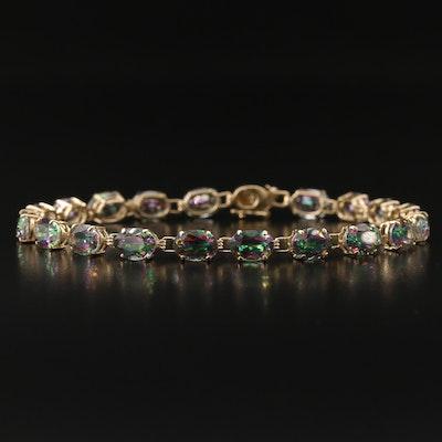 14K Mystic Topaz Link Bracelet