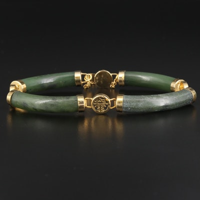 Nephrite Link Bracelet Featuring Chinese Characters