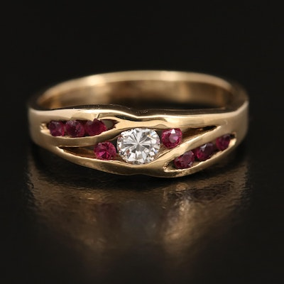 14K Channel Set Ruby and Diamond Ring
