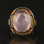 Vintage 14K Rose Quartz Ring with Enameled Bezel
