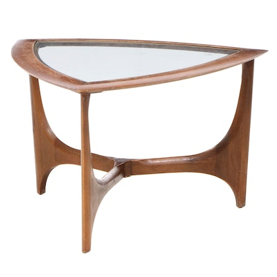 """Lane Mid Century Modern Walnut and Glass Top """"Guitar Pick"""" Side Table"""