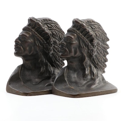 Art Deco Native American Cast Metal Bookends, Early to Mid 20th Century
