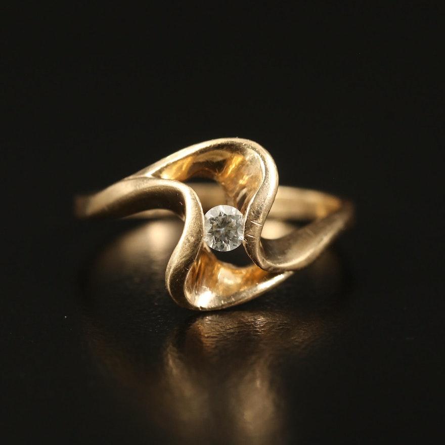 14K 0.10 CT Diamond Openwork Ring