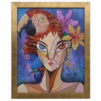 Ricardo Maya Acrylic Portrait Painting of Woman with Parrot, 21st Century