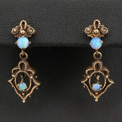 Vintage Inspired 14K Opal Dangle Earrings