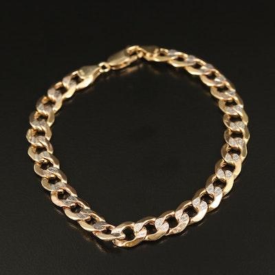 10K Textured Curb Chain Bracelet