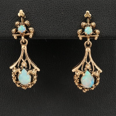 14K Vintage Inspired Opal Drop Earrings