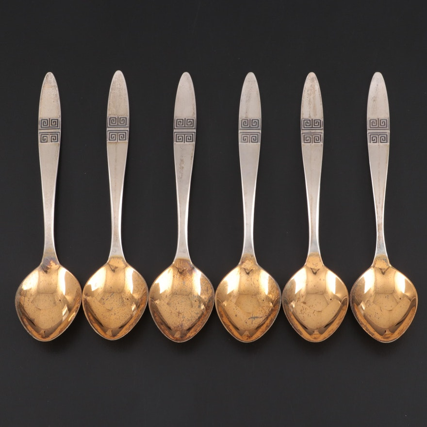 Soviet Russian 916 Silver Spoons with Gold Wash Bowls Mid to Late 20th Century