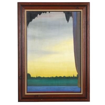 """Scott Edwards Surreal Landscape Oil Painting """"Seek and You Shall Find,"""" 1994"""
