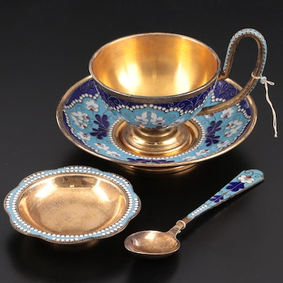Soviet Russian Enameled and Gilt 916 Silver Teacup Set, 1958-1985