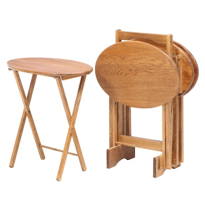 Four Oak Folding Tray Tables with Stand
