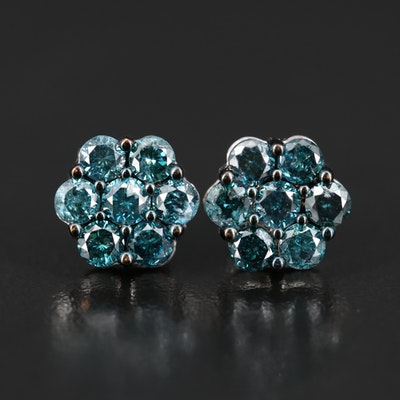 14K 1.45 CTW Diamond Cluster Earrings