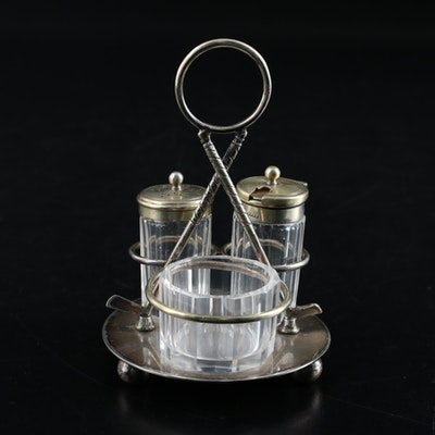 Deykin & Harrison Silver Plate and Fluted Glass Condiment Caddy, Early 20th C.