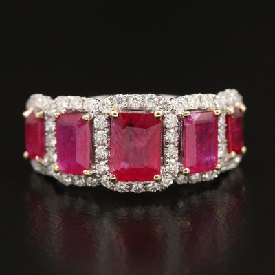 14K Tiered Ruby and Diamond Halo Ring