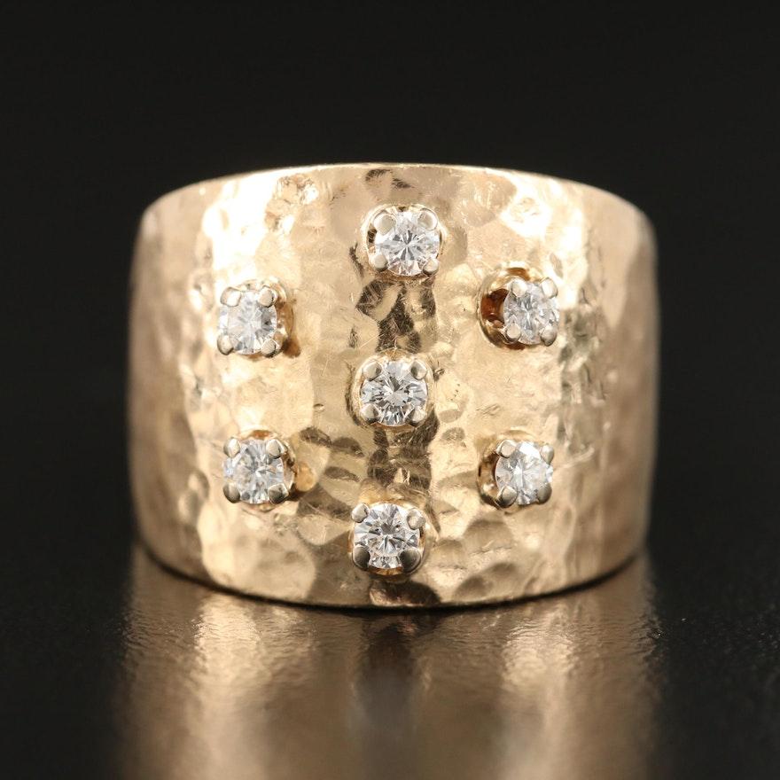 14K Diamond Hammered Ring
