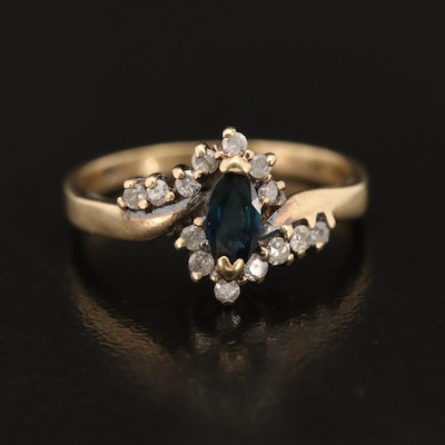 14K Sapphire and Diamond Bypass Style Ring