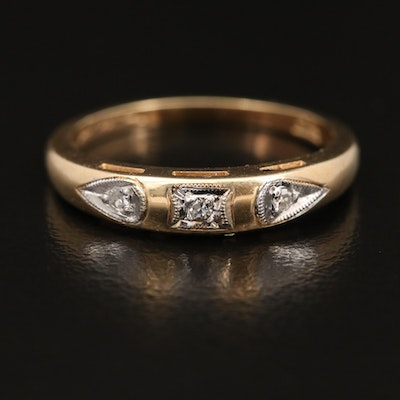 14K Three Stone Diamond Ring with Milgrain Detail