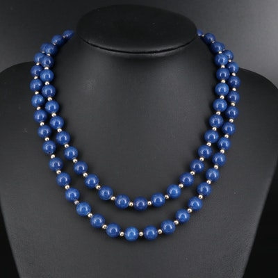 Endless Lapis Lazuli Bead Necklace