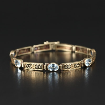 Art Deco 14K Aquamarine Bracelet