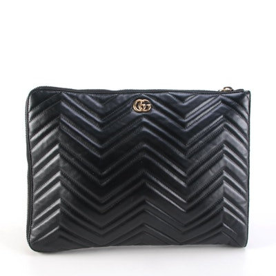 Gucci GG Marmont Portfolio Clutch in Black Matelassé Leather