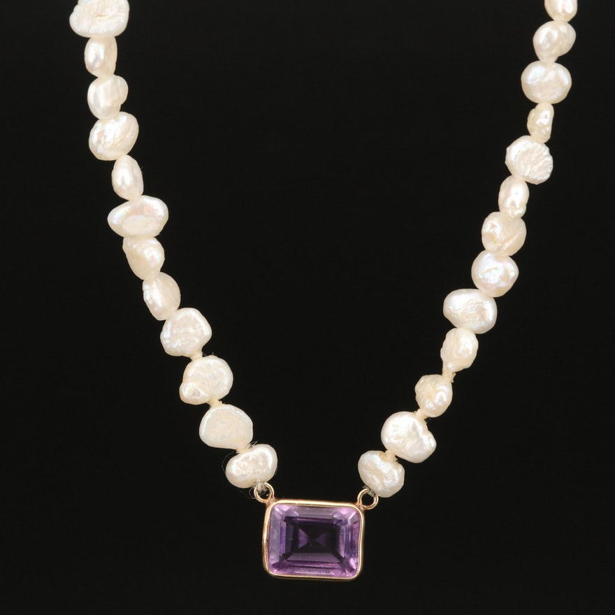 14K Amethyst and Baroque Pearl Necklace